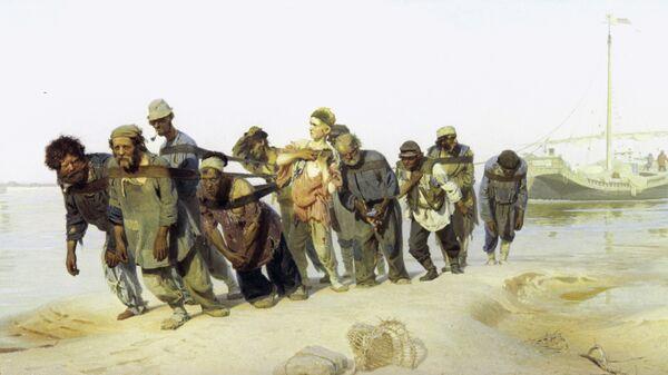 Репродукция картины Ильи Репина Бурлаки на Волге