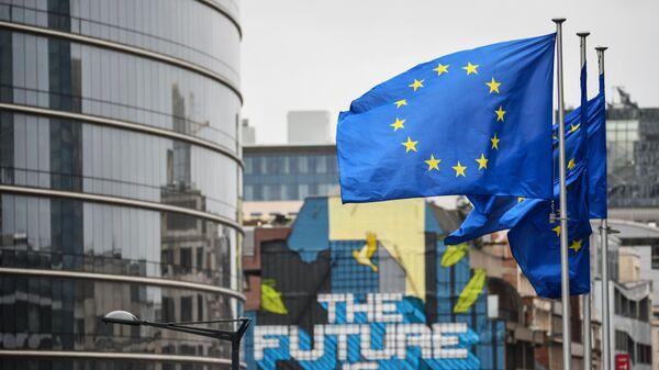 Флаги с символикой Евросоюза в Брюсселе