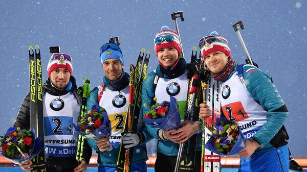 Спортсмены сборной России Александр Логинов, Дмитрий Малышко, Никита Поршнев и Матвей Елисеев (слева направо)