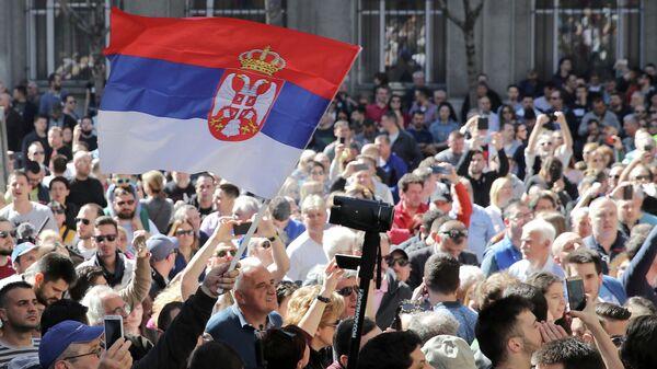 Акция протеста против президента Сербии Александра Вучича в Белграде. 17 марта 2019