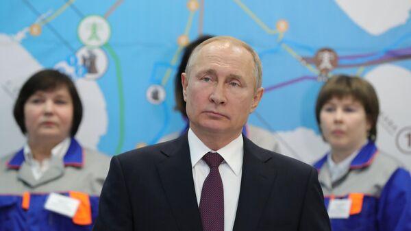 Президент РФ Владимир Путин на церемонии ввода в эксплуатацию Балаклавской ТЭС, а также Таврической ТЭС и подстанции Порт в Тамани в режиме видеоконференции. 18 марта 2019