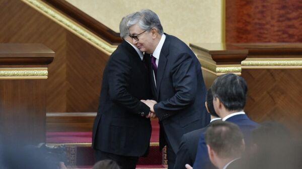 Нурсултан Назарбаев и Касым-Жомарт Токаев на совместном заседании палат парламента Казахстана. 20 марта 2019