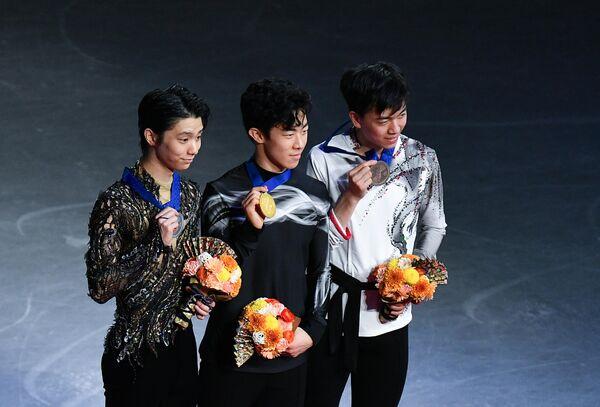 Юдзуру Ханю, Натан Чен и Винсент Чжоу (слева направо)