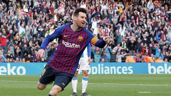 Форвард Барселоны Лионель Месси после забитого мяча в ворота Эспаньола