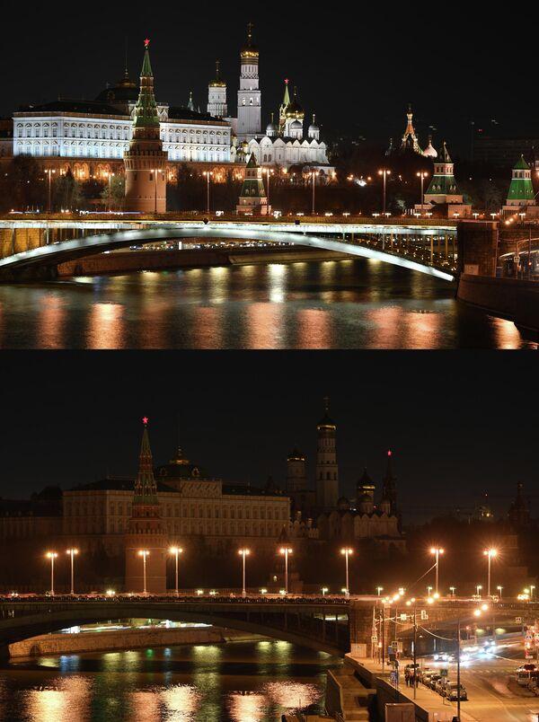 Московский Кремль до и после отключения подсветки в рамках экологической акции Час Земли