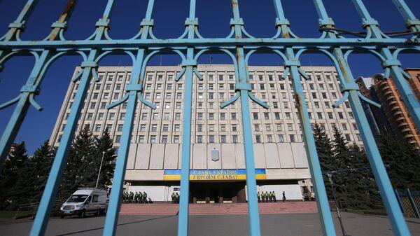 Здание ЦИК Украины в Киеве во время выборов президента Украины.