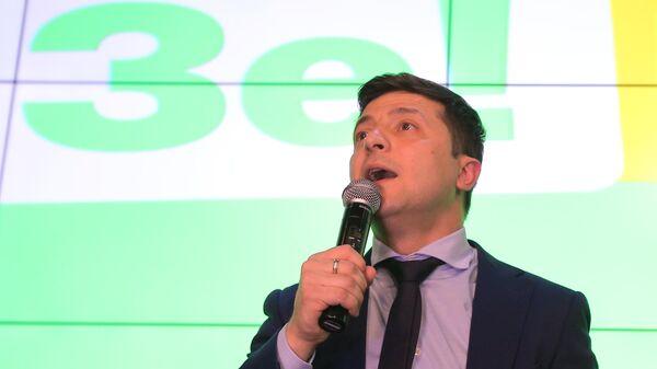 Кандидат в президенты Украины, актер Владимир Зеленский в своем избирательном штабе в Киеве
