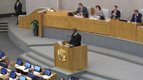 Президент Анголы Жуан Лоренсу на пленарном заседании Государственной думы РФ в Москве. 3 апреля 2019
