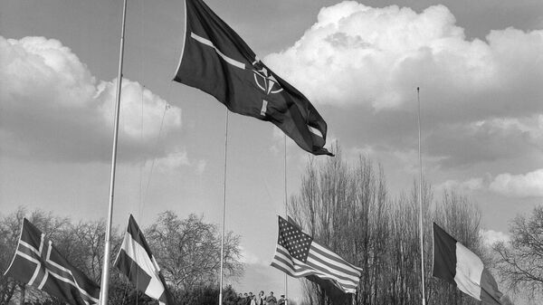 Флаги стран — участниц НАТО в пригороде Парижа Рокенкуре, 1967 год