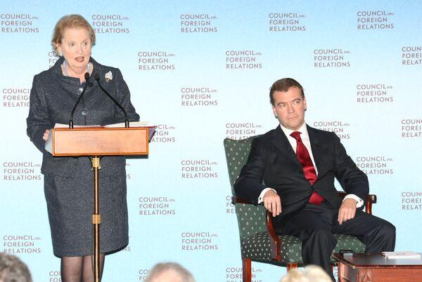 Президент России Дмитрий Медведев встретился с членами американского Совета по международным отношениям