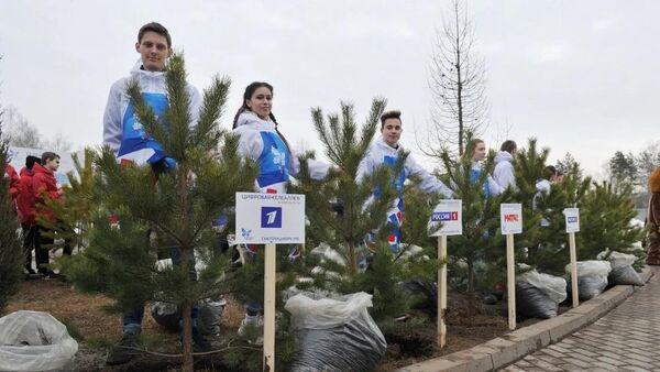 Памятная аллея в Ижевске в честь перехода республики на цифровое телевещание. 6 апреля 2019