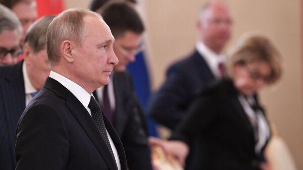 Президент РФ Владимир Путин на восьмом заседании российско-турецкого Совета сотрудничества высшего уровня. 8 апреля 2019