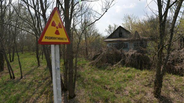 Предупреждающий знак и заброшенный дом на территории Полесского государственного радиационно-экологического заповедника