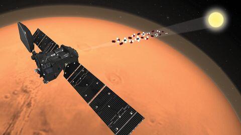 Зонд ЭкзоМарс-TGO исследует атмосферу Марса на просвет во время солнечных затмений