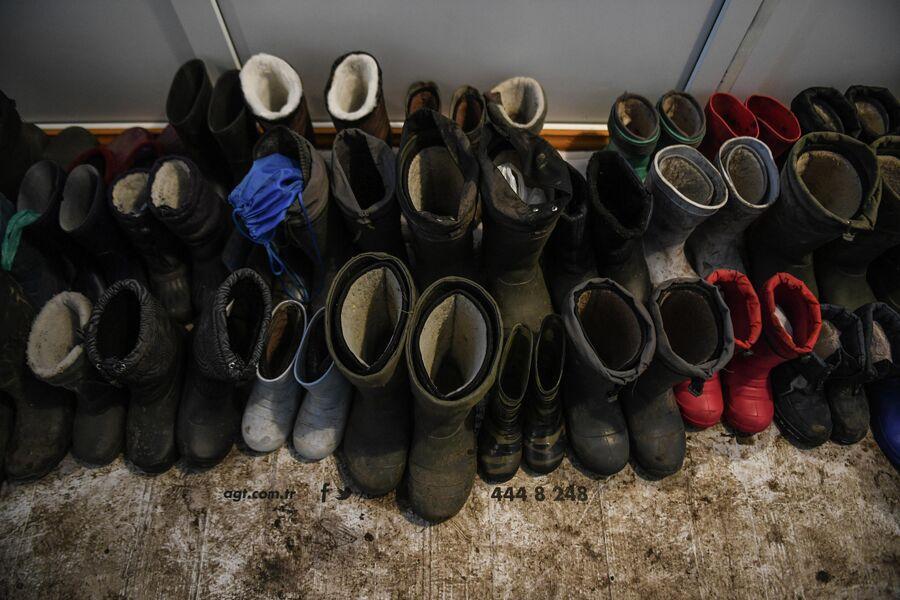 Обувь детей на входе в школу