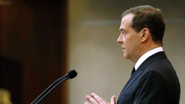 Председатель правительства РФ Дмитрий Медведев выступает в Государственной Думе РФ. 17 апреля 2019