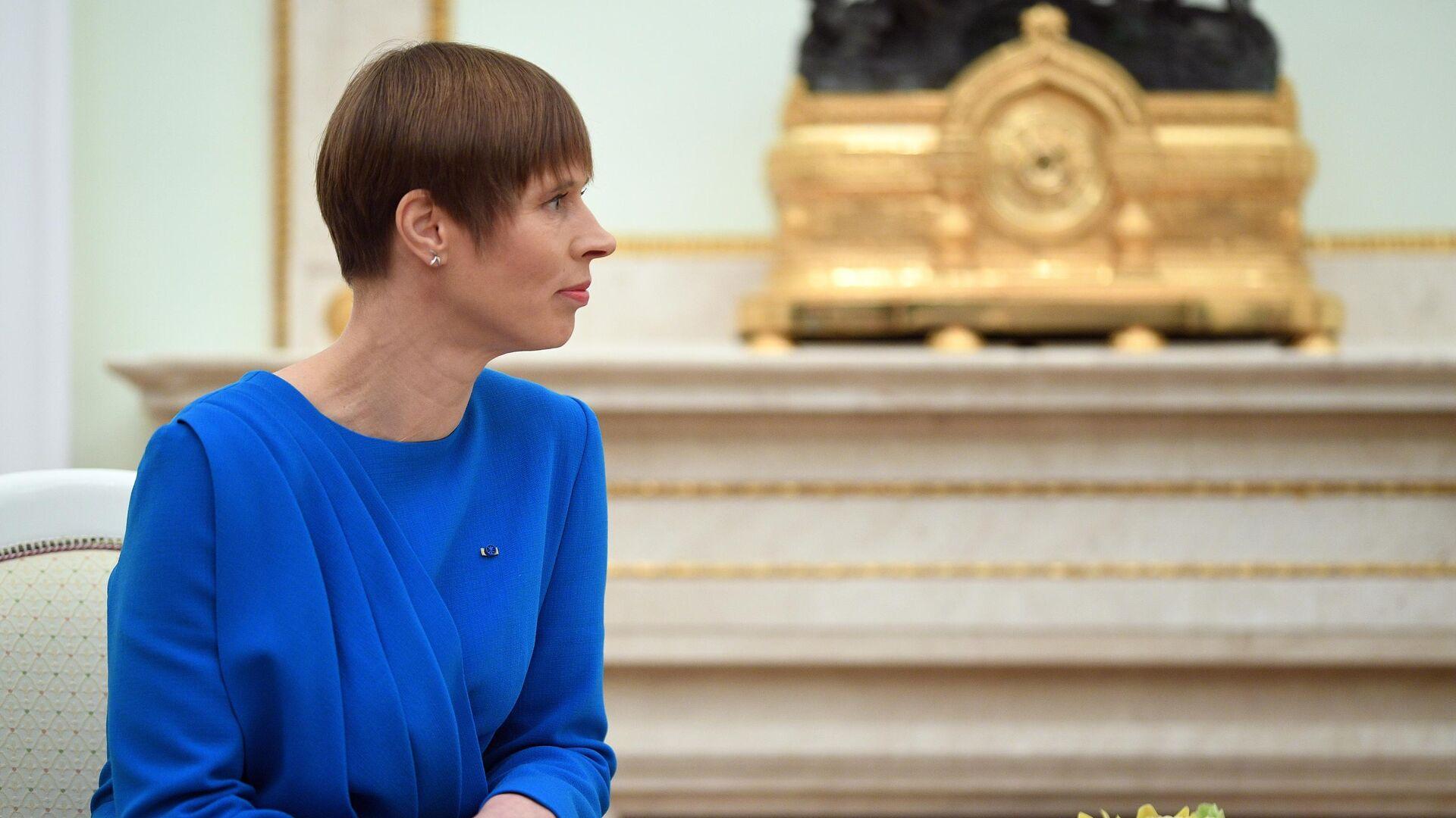 Президент Эстонии Керсти Кальюлайд во время встречи с президентом РФ Владимиром Путиным. 18 апреля 2019 - РИА Новости, 1920, 21.07.2021
