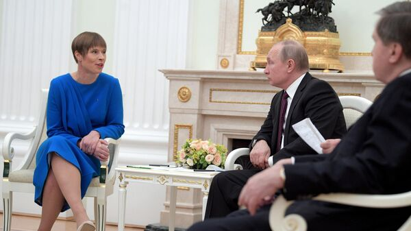 Президент РФ Владимир Путин и президент Эстонии Керсти Кальюлайд во время встречи. 18 апреля 2019