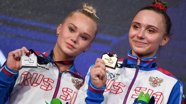 Церемония награждения призеров чемпионата Европы по спортивной гимнастике в Польше