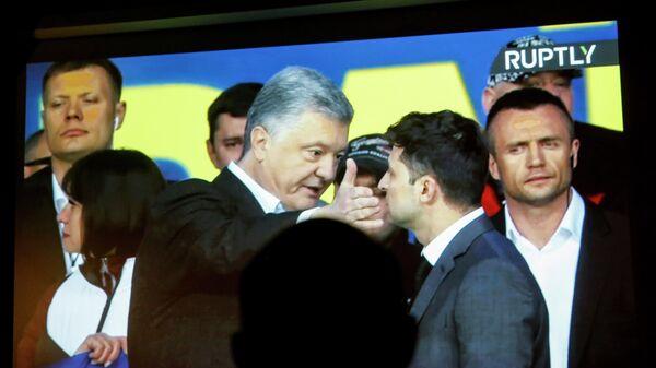 Трансляция дебатов кандидатов в президенты Украины Петра Порошенко и Владимира Зеленского