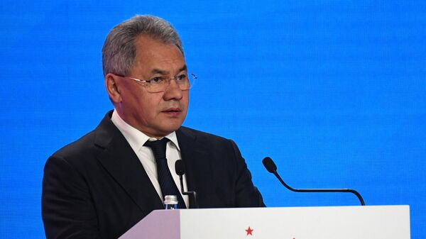 Министр обороны РФ Сергей Шойгу выступает на церемонии открытия VIII Московской конференции по международной безопасности