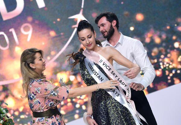 Бортпроводница компании Uzbekistan Airways Карина Рахманова, занявшая третье место на конкурсе красоты Sky Lady 2019 в Москве.