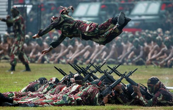 Празднование 67-й годовщины Национальной армии Индонезии в Джакарте. 24 апреля 2019