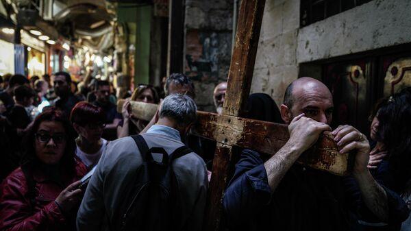 Паломники в Старом городе в Иерусалиме