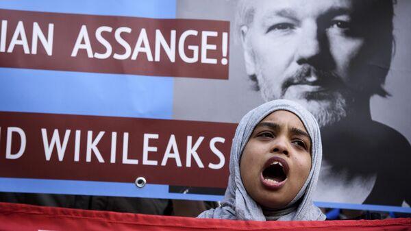 Участница акции в поддержку основателя WikiLeaks Джулиана Ассанжа в Лондоне. Архивное фото