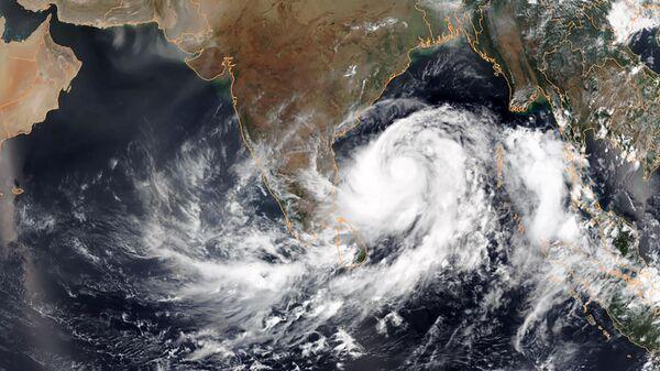 Спутниковый снимок циклона Фани у побережья Индии в Бенгальском заливе