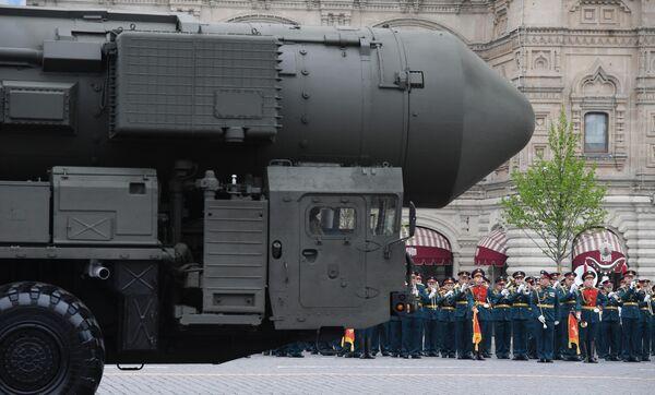 Автономная пусковая установка ПГРК Ярс на военном параде на Красной площади, посвящённом 74-й годовщине Победы в Великой Отечественной войне
