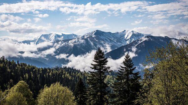 Вид на горы в Майкопском районе Республики Адыгея