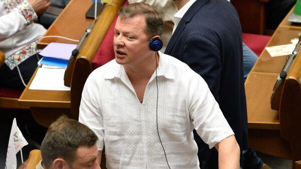 Лидер Радикальной партии Олег Ляшко на заседании Верховной рады Украины в Киеве