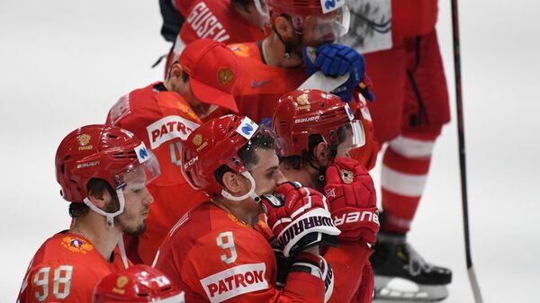 Игроки сборной России после поражения от Финляндии в полуфинале ЧМ