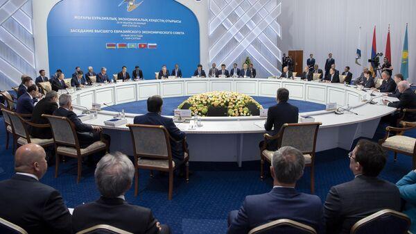 Заседание Высшего Евразийского экономического совета и глав приглашенных государств во Дворце независимости в Нур-Султане