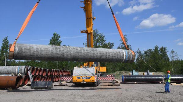 Участок строительства газопровода Северный поток-2 в Ленинградской области