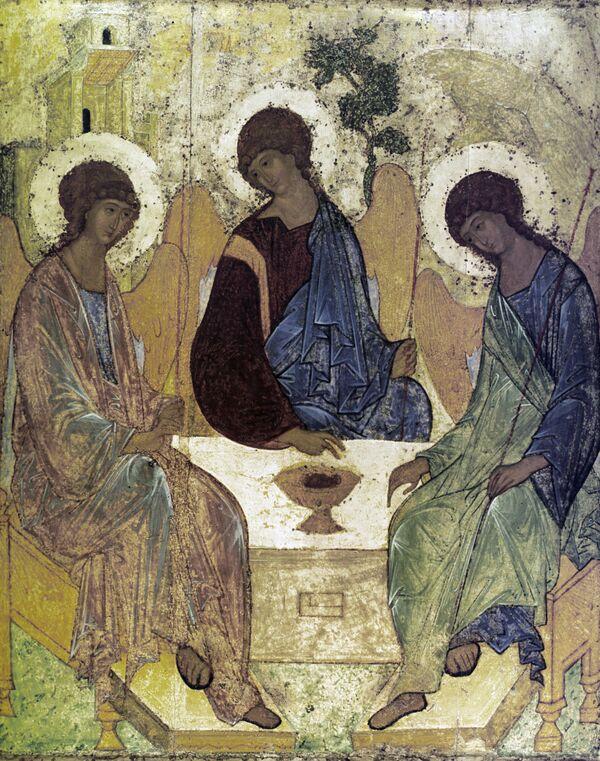 Икона «Троица», выполненная художником Андреем Рублёвым