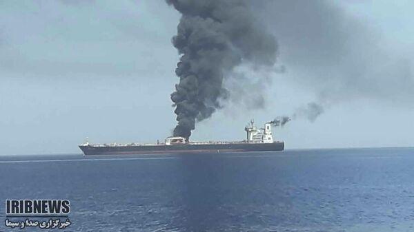 Пожар на одном из атакованных в Оманском заливе танкеров