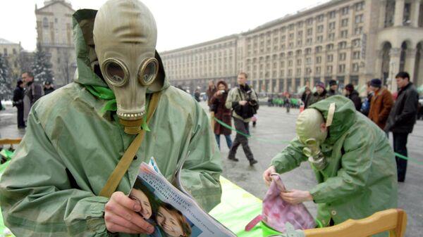 Протесты против строительства ядерного хранилища. Киев, Украина. 3 марта 2006