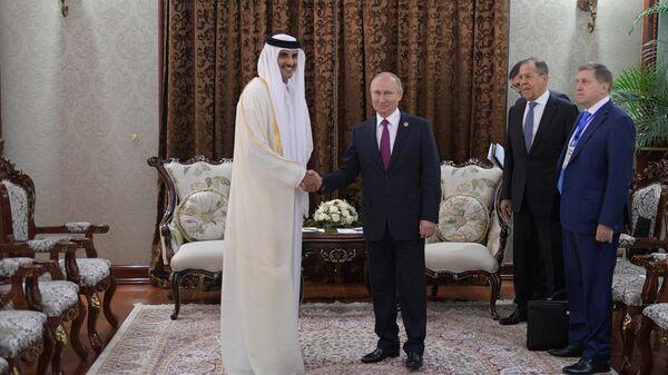 Владимир Путин во время встречи с эмиром Катара Тамимом бен Хамадом Аль Тани