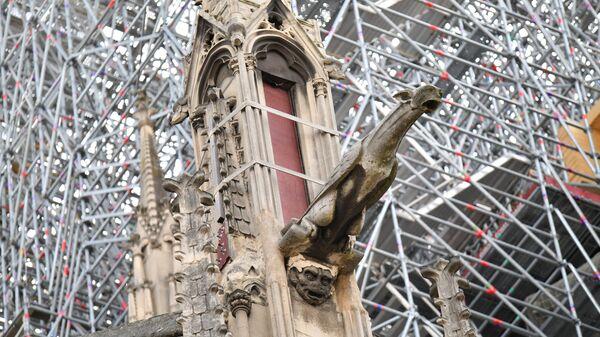 Поддерживающие конструкции на здании собора Парижской Богоматери. 15 июня 2019