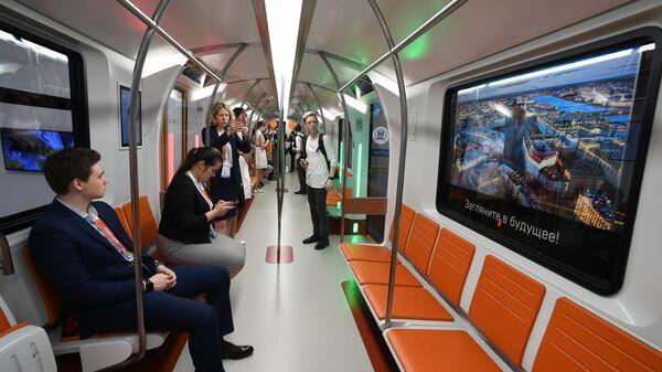 Презентация нового вагона метро на IV международном инновационном форуме пассажирского транспорта SmartTRANSPORT в Санкт-Петербурге