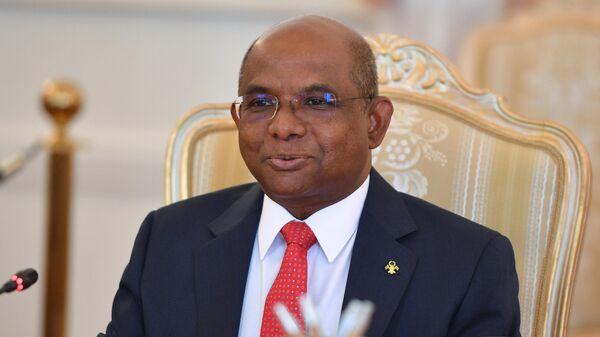 Министр иностранных дел Мальдивской Республики Абдулла Шахид во время встречи в Москве с министром иностранных дел РФ Сергеем Лавровым. 25 июня 2019