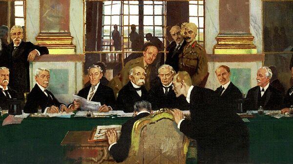 Уильям Орпен. Подписание мира в Зеркальном зале Версальского дворца 28 июня 1919 года. Имперский военный музей. Лондон