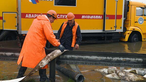 Ликвидация последствий ливневых дождей в районе аэропорта Шереметьево. 28 июня 2019