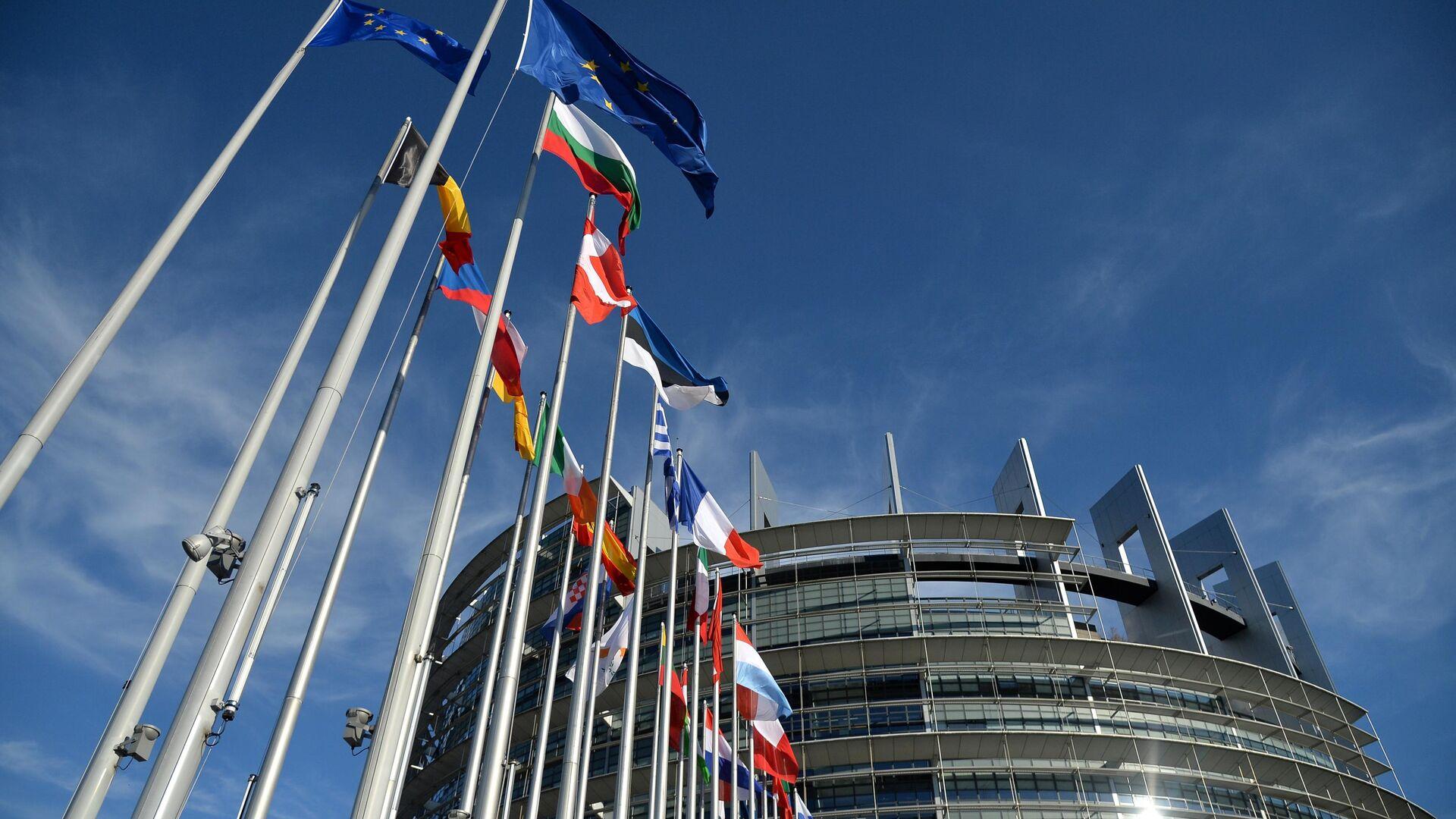 Флаги возле Дворца Европы в Страсбурге - РИА Новости, 1920, 05.11.2020
