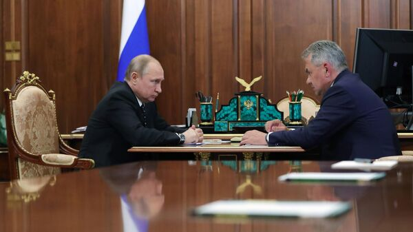 Президент РФ Владимир Путин и министр обороны РФ Сергей Шойгу во время встречи. 4 июля 2019