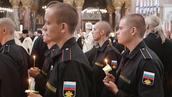 Панихида в Николаевском морском соборе Кронштадта по морякам, погибшим 1 июля при пожаре на глубоководном аппарате