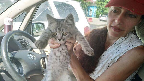 Волонтер Алевтина Бонко c котенком Тулунчиком