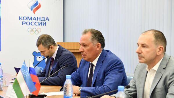 Президент Олимпийского комитета России (ОКР) Станислав Поздняков во время встречи с главой НОК Узбекистана Рустамом Шаабдурахмоновым